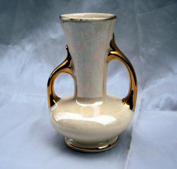 Pearl China Co Irridescent Vase Gold Trim Usa By Room3vintage