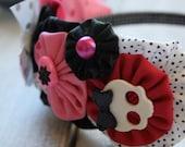Little Miss Punk Rocker -Fabric YoYo Headband