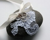 RESERVED for RebeccaEWarnock - Custom Order - Stone - Wedding ring pillow with alencon lace