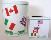 Vintage 1980s Benetton Wastebasket and Tissue Holder (Made in Japan)