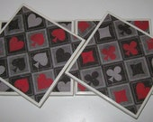 hearts, spades, clubs, diamonds--playing card suits tile drink coasters