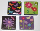 Butterflies and Flowers 1 Inch Glass Tile Magnets