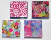 Crazy Circles 1 Inch Glass Tile Magnets