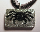 Black Spider with Silver Glitter Resin Pendant with Chain