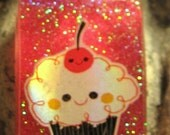 Happy Cupcake Red Glitter Resin Pendant with Chain