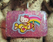 Hello Kitty Pink Resin Pendant with Chain