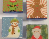 Cute Christmas 1-Inch Glass Tile Magnets