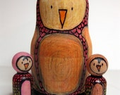 Owl Mother Nesting Doll with Two Rainbow Owl Babies