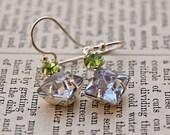 Alexandrite Peridot  Duo Vintage Jewel Earrings/Old Hollywood Style /SRAJD