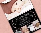 Birth Announcement Digital Photo Card - Chalkboard Hearts