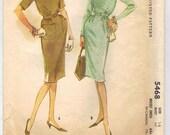 1960 Raglan Sleeve Belted Dress Pattern Bust 36