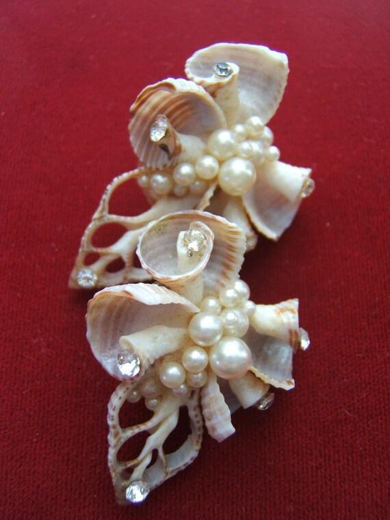 Shell, Pearl and Rhinestone Clip Earrings - 1950's