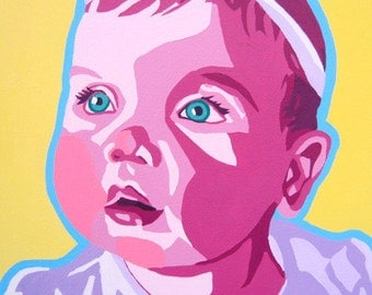 Custom 14x14 Pop Art Portrait Hand Painted Painting Child Adult Wedding