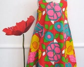 60s MOD Bright FLORAL TENT Style Vintage MINI DRESS