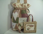 Touch of  Country Sewing bag , Needle book and Pincushion
