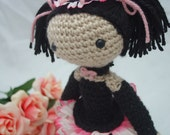Amigurumi crochet doll cute goth girl pink and black Lady Rose