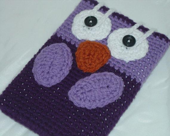 Handmade Nook Kindle crochet purple owl cozy cute ereader sleeve cover slip case