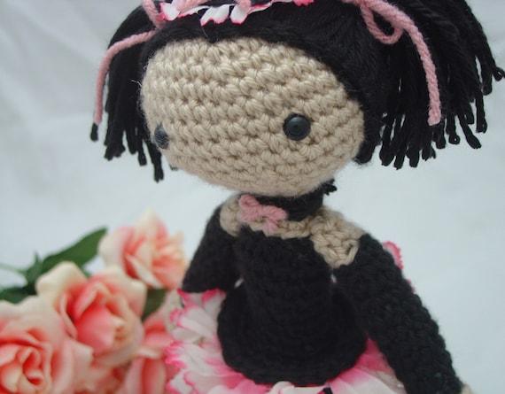 Amigurumi crochet doll cute goth girl pink and black Lady Rose