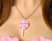 Sweet Pink and Purple Lollipop Necklace  (D1I2)
