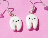 Smiley White Tooth Earrings