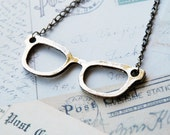 Bronze Nerd Glasses Necklace