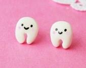 Smiley White Tooth Stud Earrings