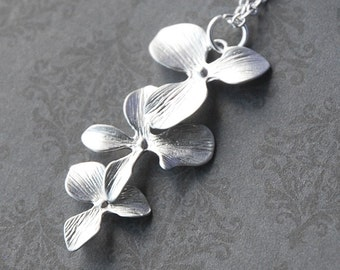 Triple Tier Orchid - White Gold Necklace  (R4B-A2B)