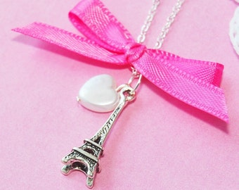 J'Adore Paris - Pink Ribbon ( silver Eiffel Tower necklace )   (R5B)