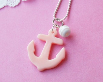 Sweetest Pink Sailor Anchor Necklace