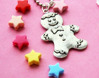 Happy Gingerbread Man Silver Necklace