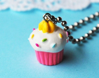 Pink Sprinkled Cupcake with Icing Necklace  (D2A4)