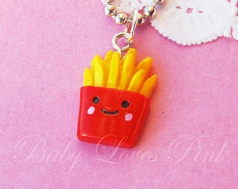Kawaii Happy French Fries Necklace  (D2C1)