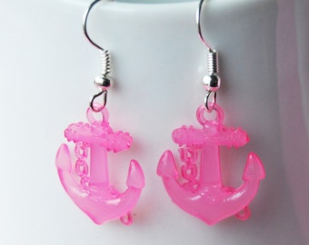 Nautical Anchor Earrings - Light Pink Anchors