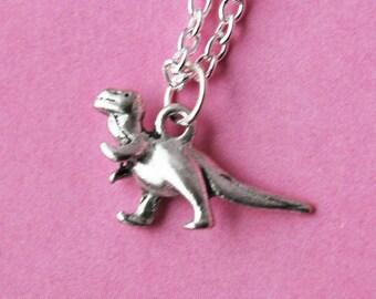 Silver Dinosaur Necklace  (R4A)