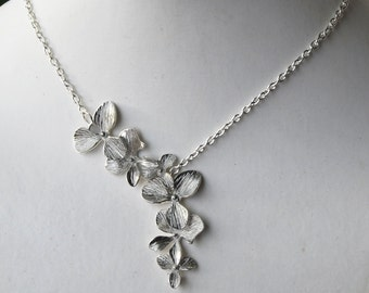 Dangling Orchid Silver Floral Necklace  (R4B-B2)