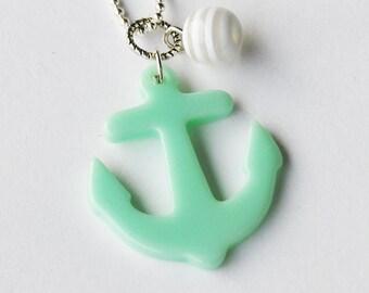 Baby Blue Sailor Anchor Necklace (D2F5)