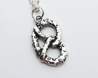 Silver Pretzel Necklace - miniature food   (T1)