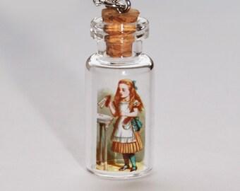 Alice in Wonderland Bottle Necklace - Drink Me Image  (R2E2)