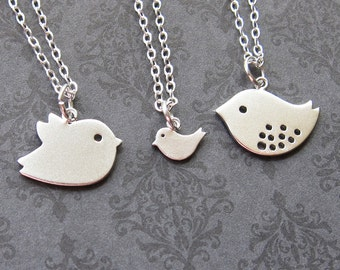 Family set of 3 Bird (white gold) Necklace - Best Friend Necklace   (R4B-B4)