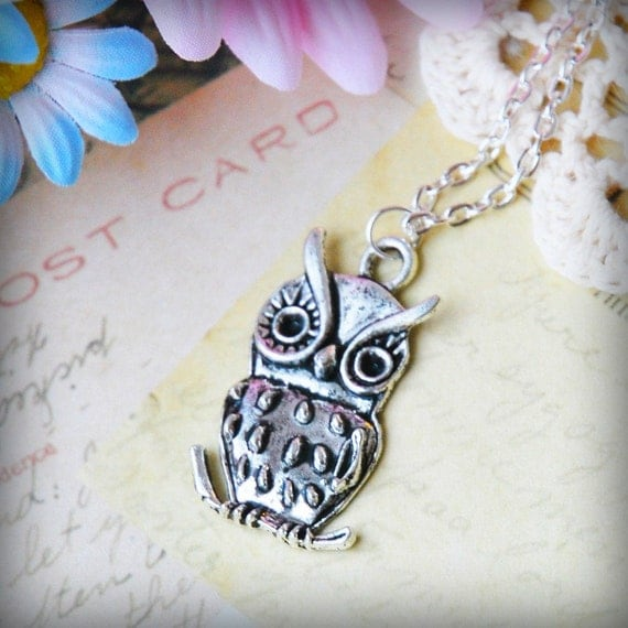 Sweet Silver Owl Necklace (T1)