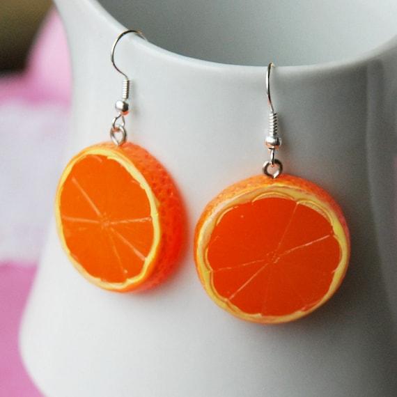 Orange Fruit Slice Earrings
