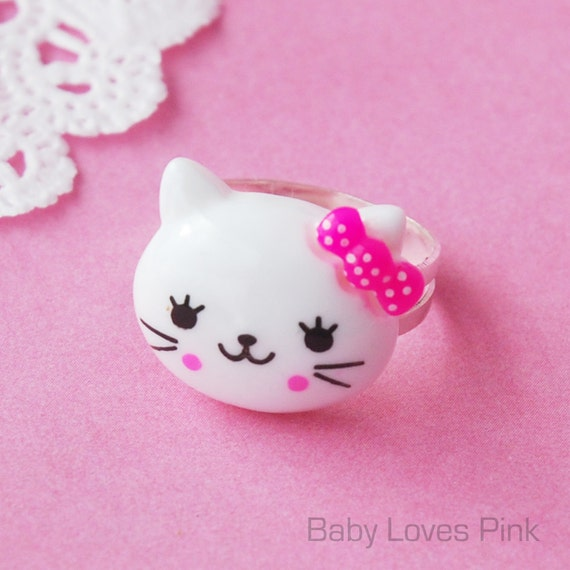 Kitty Cat with Pink Bow Ring