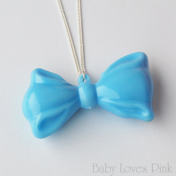 Alice's Blue Ribbon Bow Necklace  (D2F1)