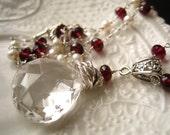 Reserved for Ellen-Crystal Quartz, Rhodolite Garnet and Pearl Necklace-Raindrops on Roses