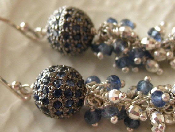 Pave Sapphire Earrings-Andromeda Made To Order