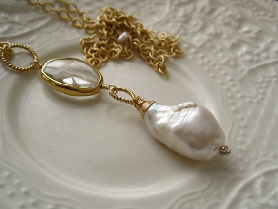 Baroque Pearl and Crystal Quartz Pendant-Soiree