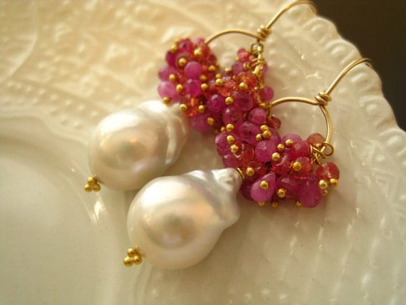 Baroque Freshwater Pearl and Sapphire earrings-Plumeria