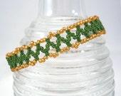 Gold and Green Netting Bracelet