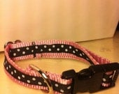 Hand Made DOG COLLAR Fun Black White Polka Dots on PINK for your Pampered Pup