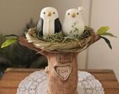 Custom Wedding Cake Topper - Love Birds Tree with Nest - Hand Sculpted